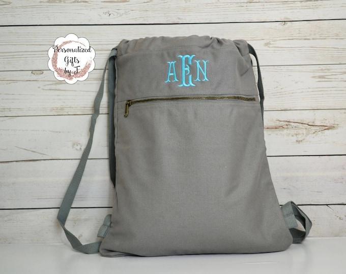 Monogrammed Cinch Saks, Canvas Cinch Sack, Tween Gift, Teen Christmas Gift, Birthday Gift, Comfort Colors Cinch Bag