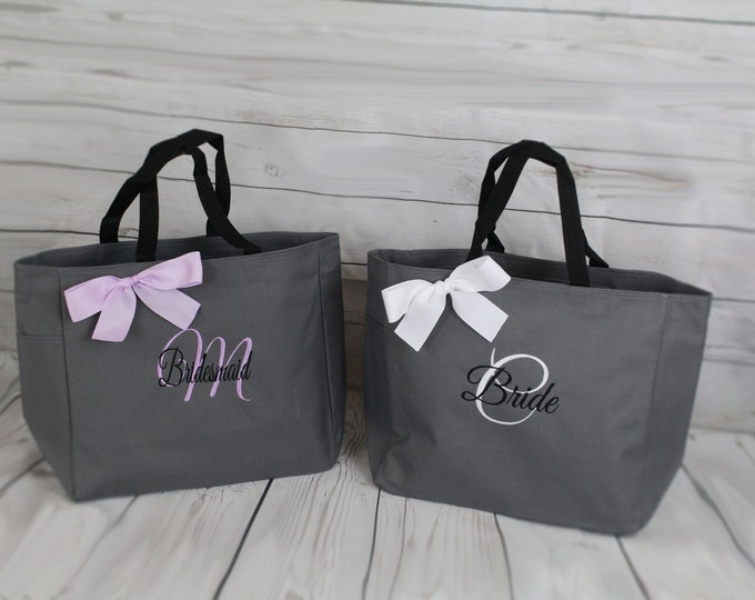 8 Bridesmaid Totes, Personalized Tote Bags, Maid of Honor Gift, Mother of the Bride Gifts, Attendant Gift, Bridesmaid Gift Bag (ESS1)