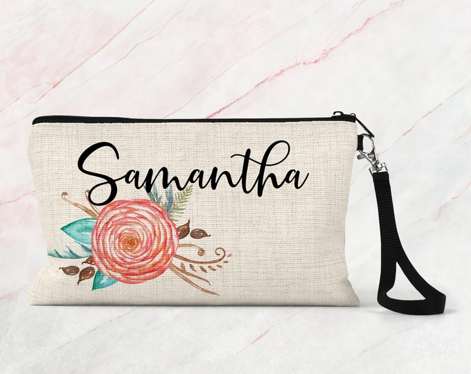 Makeup Bag, Bridesmaid Gift, Cosmetic Pouch, Personalized Makeup Bag COS