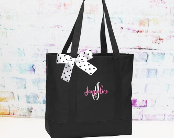 Black Personalized Cheer Team Tote Bag, Bridesmaid Tote, Teacher Bag,  Perfect Custom Gift For Her (NS2T)