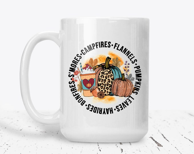 Cute Fall Mug, Fall Coffee Cup, Autumn Personalized Mug, Custom Coffee Cup