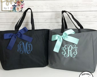 Set of 6,  Personalized Tote Bags, Bridesmaids Gift, Monogrammed Tote, Bridesmaids Bag (ESS1)