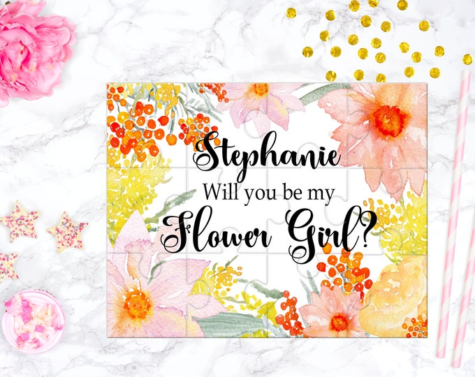 Flower Girl Proposal Will You Be My Flower Girl Puzzle Cute Gift Keepsake Memento Personalized Girl Gift design 340
