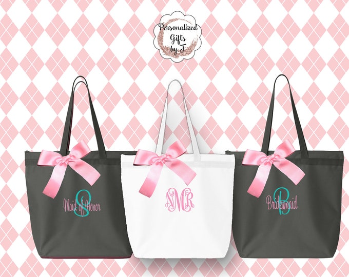 Personalized Zippered Tote Bag Bridesmaids Gifts Set of 9 Monogrammed Tote, Bridesmaids Tote, Personalized Tote