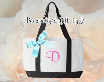 8 Bridesmaids Gifts, Personalized Monogrammed Tote, BridesmaidTote, Team Bride, 2- Color, Tote Bags, Embroidered Tote, Bridal Party Gift