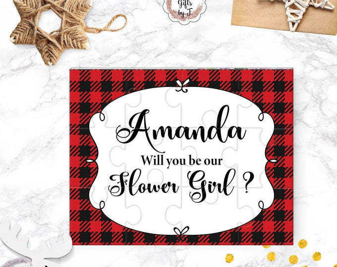 Buffalo Check Flower Girl Proposal Will You Be My Flower Girl Puzzle Cute Gift Keepsake Memento Personalized Girl Gift design 117