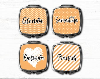Orange Compact mirror pocket mirror bridesmaid gift for her mother gift sister girlfriend gift personalized monogrammed mirror