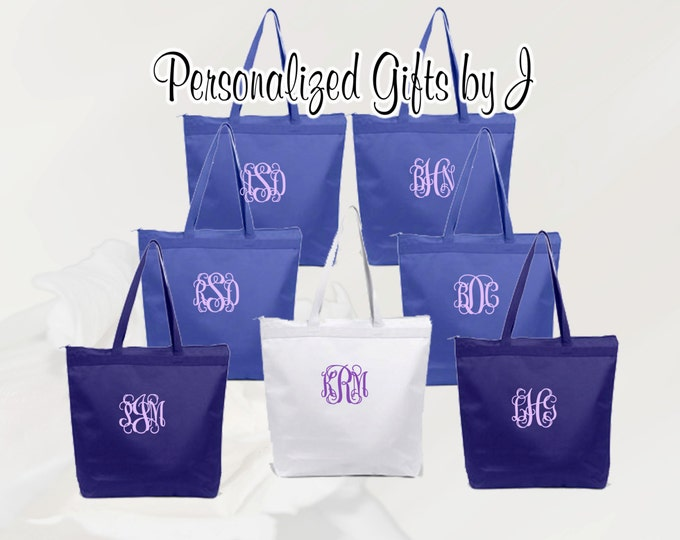 Personalized Zippered Tote Bag Bridesmaid Gift Set of 3- Wedding Party Gift- Bridal Party Gift- Initial Tote