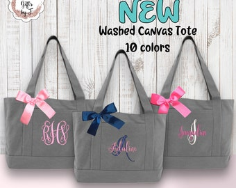 monogrammed tote bag personalized canvas tote washed canvas tote embroidered bridesmaids gift for her womens tote bag custom gray tote