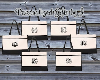 Monogrammed Tote Bag (Set of 14)- Bridesmaid Gift- Personalized Bridemaid Tote - Wedding Party Gift - Name Tote-
