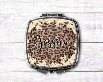 Leopard Print Purse Mirror, Personalized Gift, Pocket Mirror, Bridesmaid Gift, Wedding Party favor