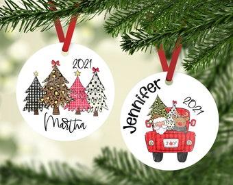 Rustic Christmas Red Truck Ornament, Cute Personalized Christmas Ornament, Cute Holiday Personalized Ornament,