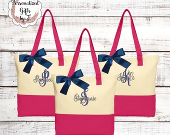 Embroidered Bridesmaid Tote Bag Tote Bag Canvas Color Block Tote Personalized Bridesmaid Gift Idea Sorority Sister Tote Bag Mother Gift