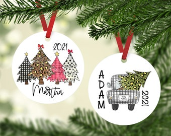 Christmas Ornament, Cute Personalized Christmas Ornament, Rustic Holiday Personalized Ornament,