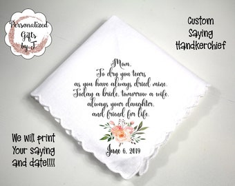 Mother of the Groom Gift, Custom Handkerchief, Wedding Hanky, Your custom Text Hanky, Mother of the Bride Hanky, Grandmother Gift dh05