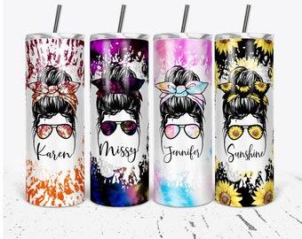Tie Dye Tumbler, Sunflower Tumbler, Mom Tumbler, Messy Bun Personalized Tumblers, Bridesmaid Gifts, Bachelorette Party, Bridesmaid Glass