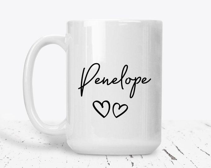 Personalised Mug, Cute Mug, Custom Mug, Birthday Gift Idea, Personalised Cup, Name Mug, Personalized Heart Mug, Pretty Mug, Birthday Gift