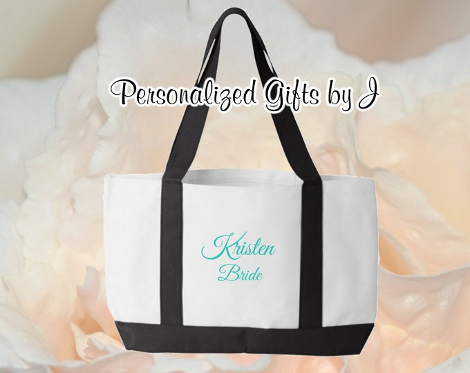 2 Personalized Monogrammed Bridesmaid Bride 2- Color Tote Bags Personalized Tote, Bridesmaids Gift, Monogrammed Tote