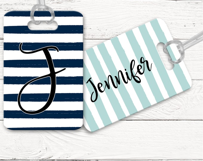 Navy Stripe Airport Bag Tag, Aqua Stripe Luggage Tag, Personalized Bag Identifier Tag, Gift For Wanderlust