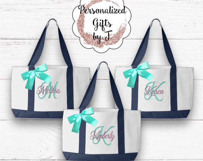 6 Personalized Monogrammed Bridesmaid Bride Tote Bags 2 tone, Embroidered Tote, Monogrammed Tote, Bridal Party Gift