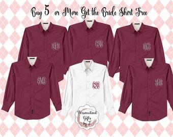 Monogrammed Getting Ready Shirt, Oversized Bridal Party Shirt, Set of 6, 7, 8, 9, 10, 11, 12, Personalized Oversized Shirt Bridesmaids Gift