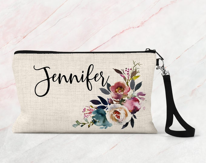 Personalized Bridesmaid Gifts, Floral Makeup Pouch, Linen Makeup Pouch, Cosmetic Case COS35