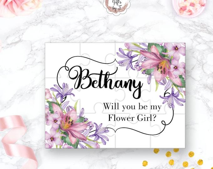 Will You Be My Flower Girl Puzzle Flower Girl Proposal Flower Girl Gift Lavender Keepsake Memento Personalized Flower Girl Gift design 105