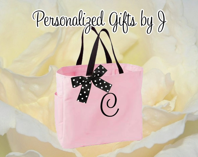 Set of 6 Bridesmaid Gift Tote Bags, Personalized Tote, Monogrammed Tote, Mom Gift Bag, Gifts for Her, MOH gift bags, Bridal party, Mom Gift