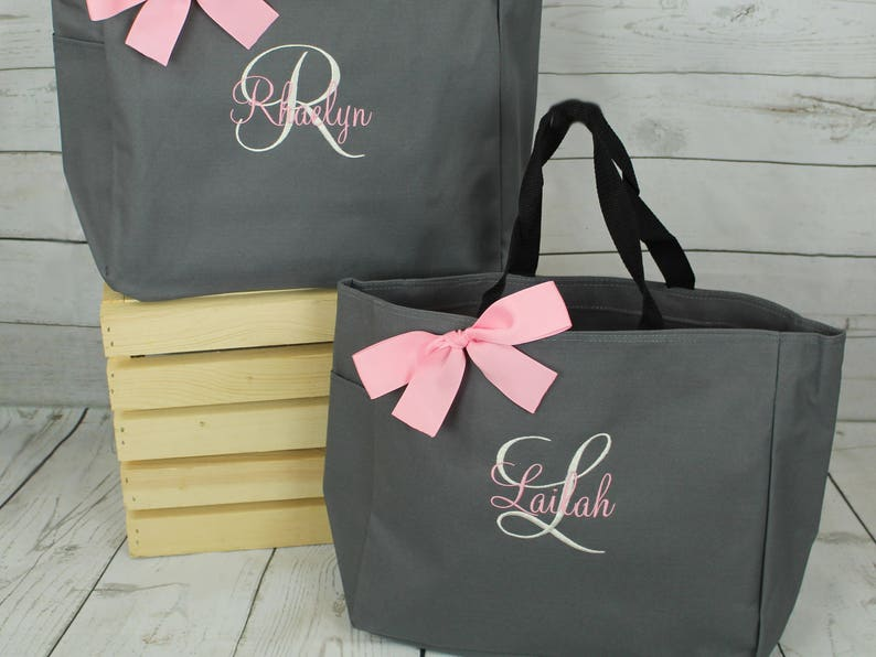 Set of 6 Bridesmaid Tote Bags Monogrammed Tote Bridesmaids Gift Personalized Tote Wedding Day Tote Bag ESS1 Bridal party tote