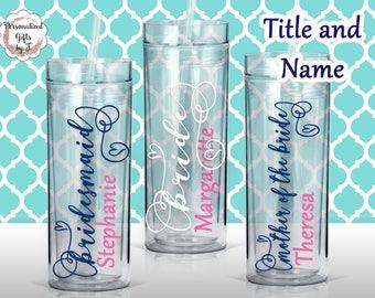 Personalized Bridesmaid Tumblers Glass Personalized Tumbler, Bridesmaid Gift, Bachelorette Party, Bridesmaid Glass Design #101