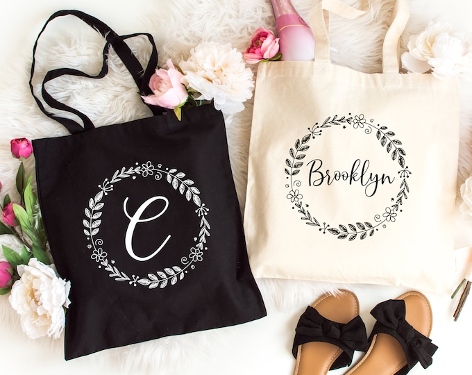 Canvas Tote Bag, Personalized Bridesmaids Gift Tote Bags, Custom Tote Bag,  Light Weight Cotton Canvas Tote