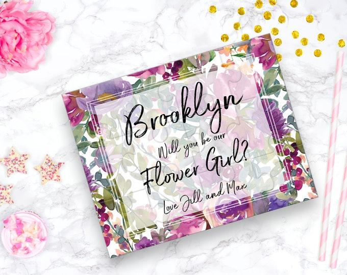 Flower Girl Puzzle, Aubergine Floral Design