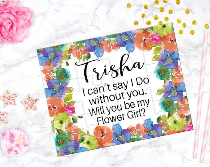Flower Girl Proposal Puzzle, Bridesmaid Proposal puzzle, Bridal Party Favor, Orange and Blue Floral Design PUZ- DES5