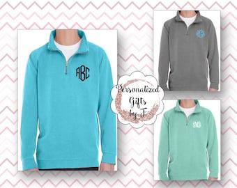 Comfort Colors Sweatshirt Monogram, Monogrammed Quarter Zip, Embroidered Quarter Zip Sweatshirt, Quarter zip pullover, Quarter Zip Sorority