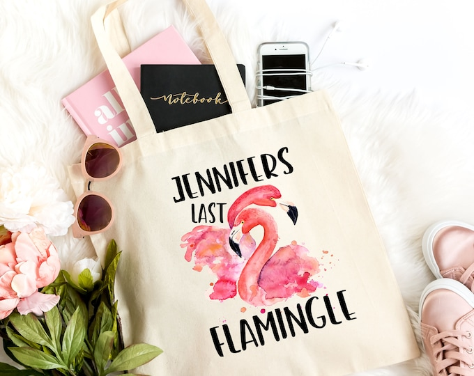 Bachelorette Party Personalised Tote Bag, Flamingo Gift For Her, Last Flamingle, Light Weight Cotton Canvas Tote  FLAMH1