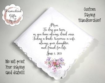 Grandmother of the Bride Gift, Custom Handkerchief, Wedding Hanky, Your custom Text Hanky, Mother of the Groom Hanky, Mother Gift mb51