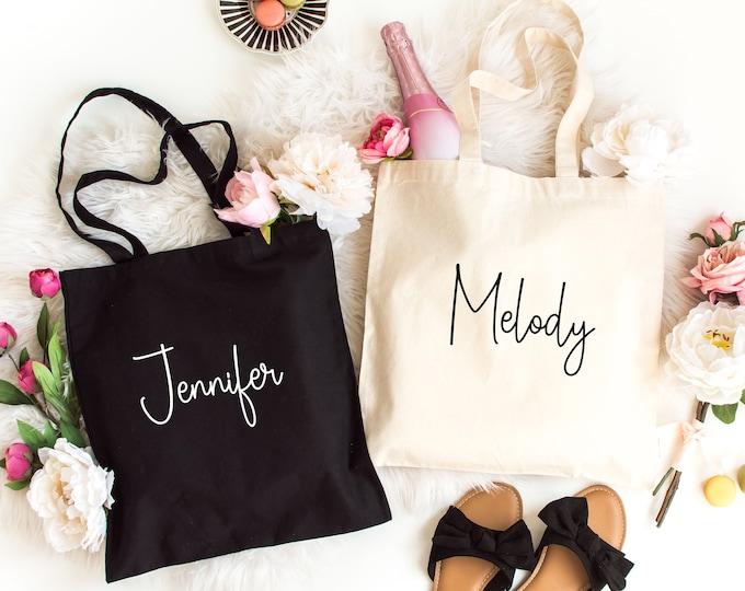 Personalized Tote Bags, Custom canvas bag, Custom Name Tote Bag, Personalized Totes, Custom Wedding Totes, Bridesmaid Bag,  Light Canvas bag