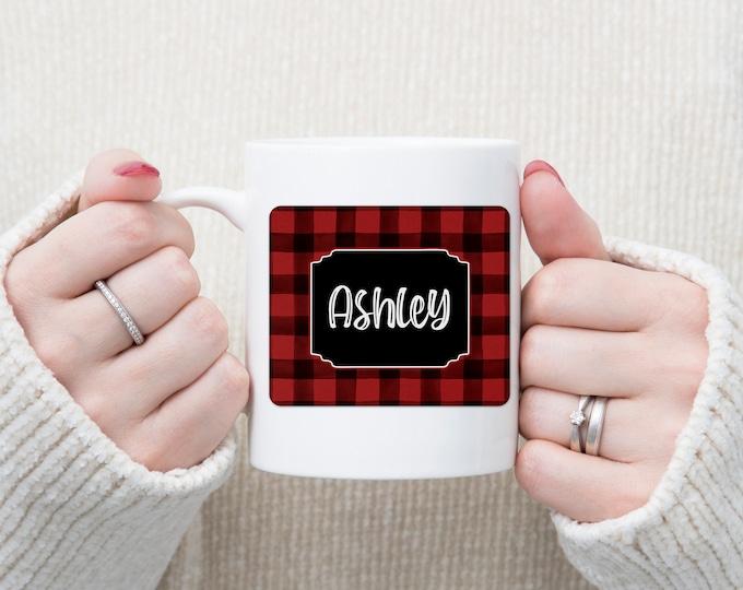 Red and Black Buffalo Check Personalized Mug, Personalized Christmas Gift