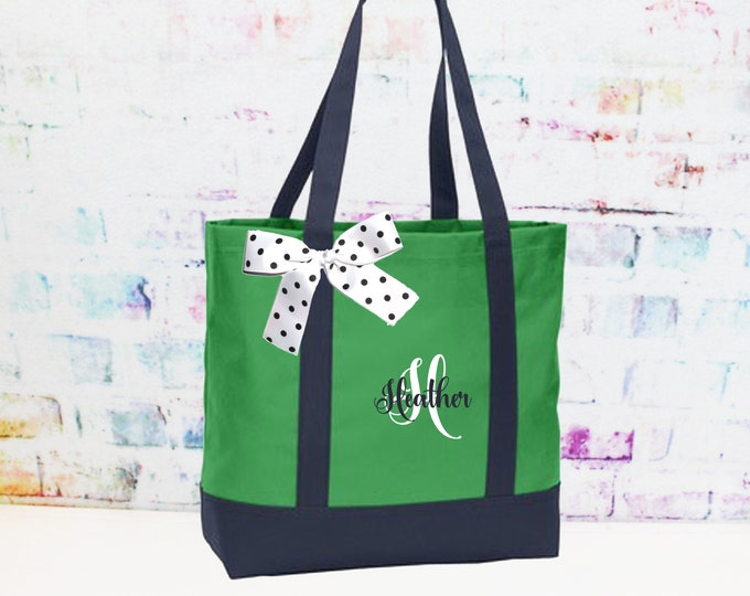 Tote bag Green and Navy, Printed Tote Bag, Personalized Embroidered Tote, Teacher Bag,  Custom Dance Team Bag (NS2T)