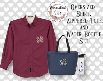 Bridesmaid Gift Set, Oversized Shirt, Zippered Tote, and Water Bottle Set, Monogrammed, Personalized, Customized, Getting Ready Set
