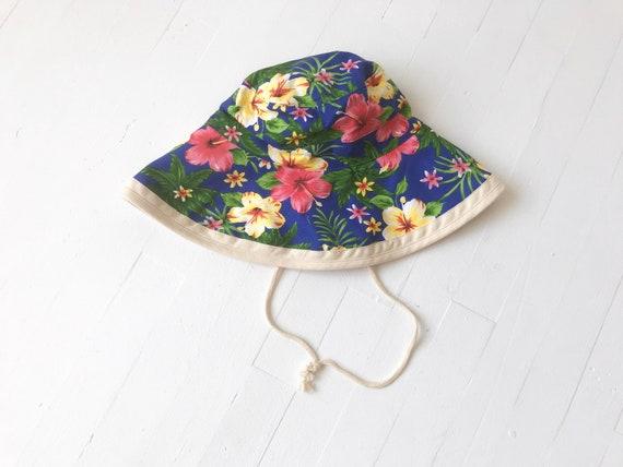 1990's Blue Tropical Print Drawstring Bucket Hat