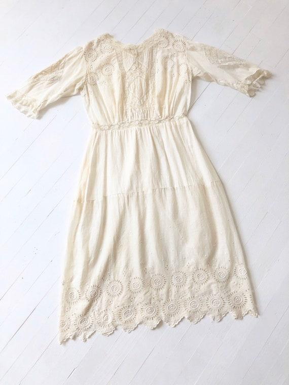 Antique White Eyelet Cotton Dress - image 3