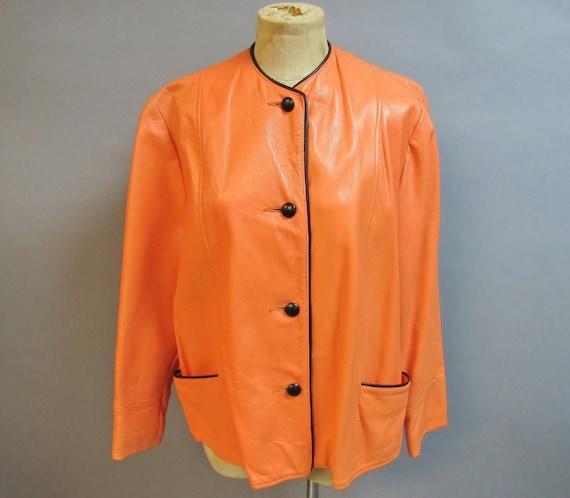 MOD Vintage 60's Coat, 70's Orange BOHO LEATHER Ja