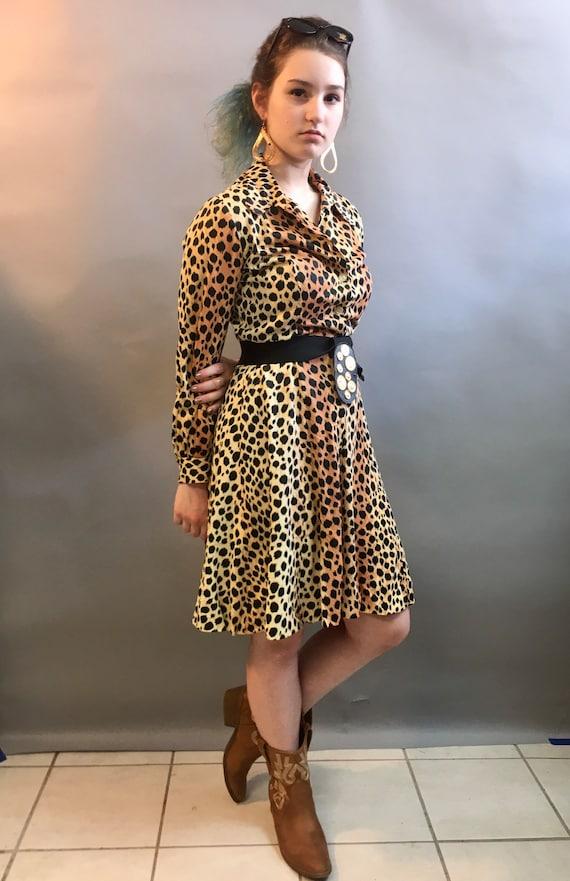 1970's LEOPARD Print Dress, Wildcat, Tiger King 70