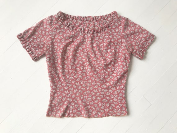 1950's Dusty Pink Floral Print Top
