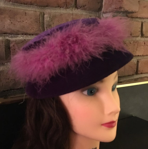 cea25332043 MOD Vintage 1960 s Hat PURPLE VELVET 60s Pillbox Hat