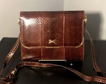 1970's Genuine SNAKESKIN Purse, DEADSTOCK 70s Brown SNAKE Shoulder Bag