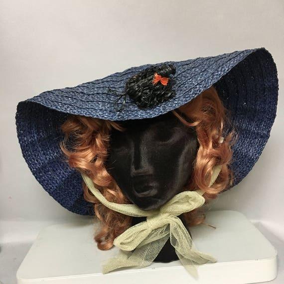 Vintage 40's Straw WIDE BRIMMED POODLE Hat / Deads