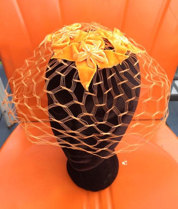50's Orange Velvet WHIMSIE, ROCKABILLY Fascinator… - image 6