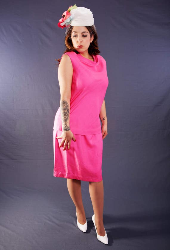 Vintage 1960's BH WRAGGE 2 Piece, Hot Pink, Raw SI